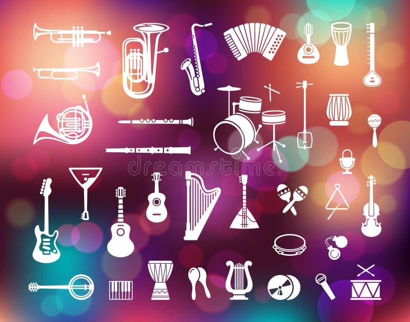 Collection d'icônes d'instruments de musique sur le fond coloré avec les lumières defocused illustration de vecteur