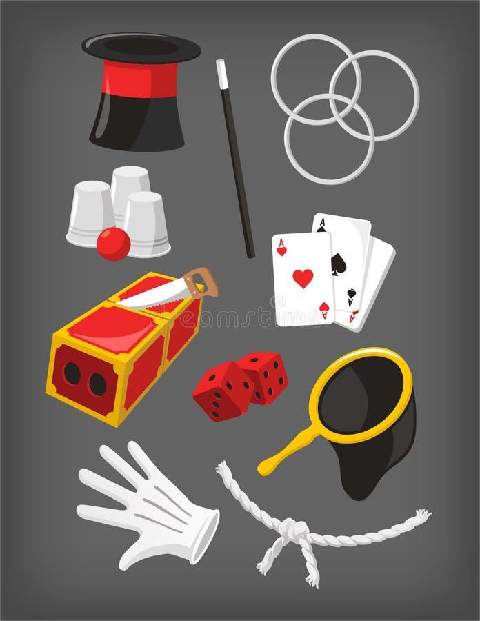 Collection d'icône d'éléments de présentation de spectacle de magie illustration de vecteur