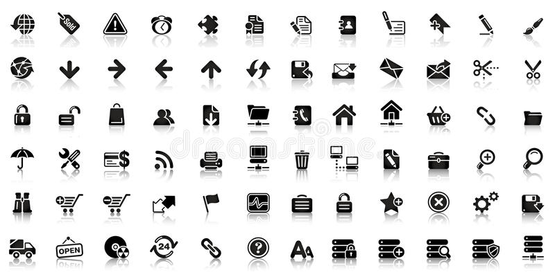 Collection d'icône noire de Web illustration libre de droits