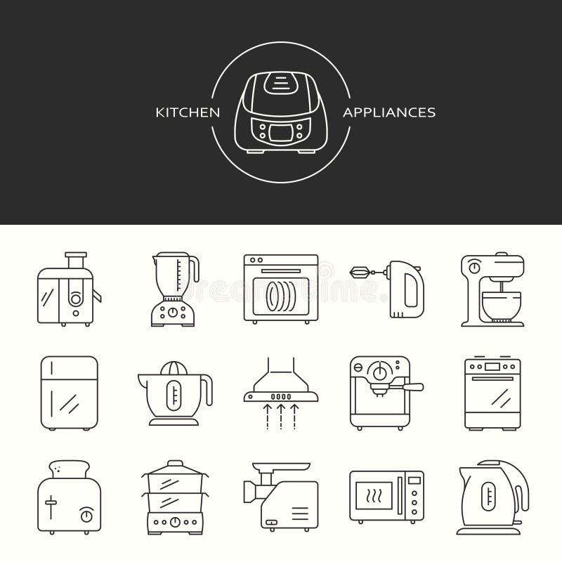 Collection d'ic?nes d'appareils de cuisine illustration de vecteur