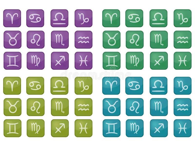 Collection d'icônes colorées de zodiaque (vecteur) illustration libre de droits