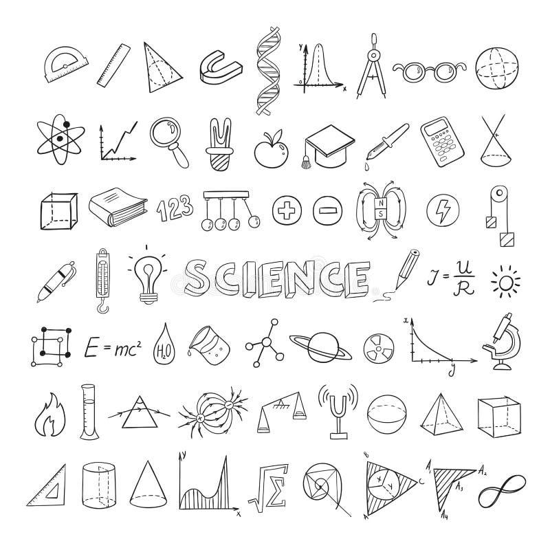 Collection d'icônes de croquis d'éducation illustration libre de droits