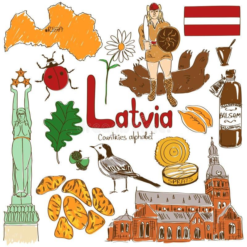 Collection d'icônes de la Lettonie illustration stock