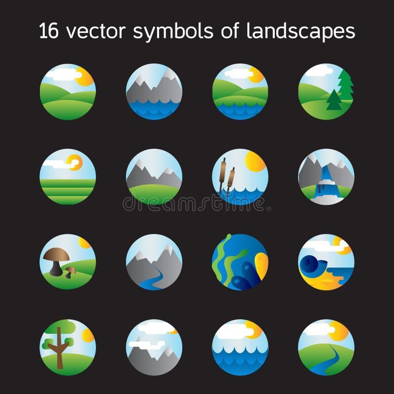 Collection d'icônes de paysage Symboles de nature illustration libre de droits