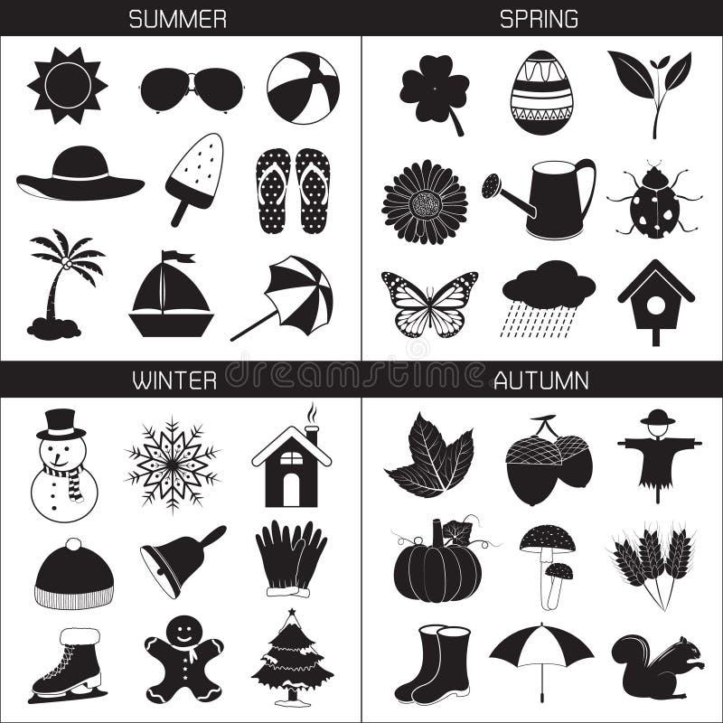 Collection d'icônes de saison : Été Autumn Winter de ressort illustration libre de droits