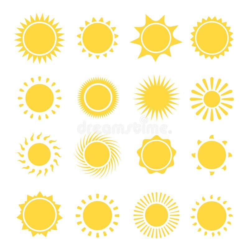 Collection d'icônes de Sun Illustration de vecteur illustration stock
