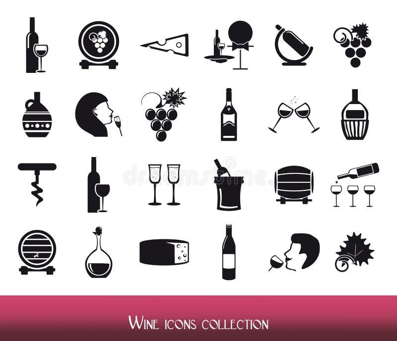 Collection d'icônes de vin illustration de vecteur