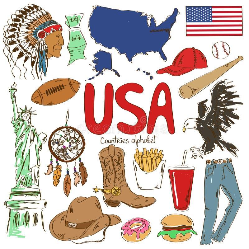 Collection d'icônes des Etats-Unis illustration de vecteur