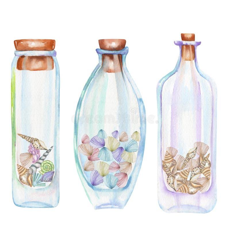 Collection d'icônes, ensemble de bouteilles romantiques et de conte de fées d'aquarelle avec des coquilles de mer à l'intérieur illustration stock