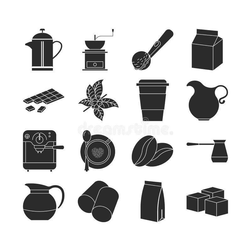 Collection d'icônes foncées de café illustration libre de droits