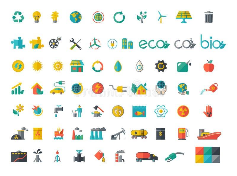 Collection d'icônes plates d'écologie illustration stock