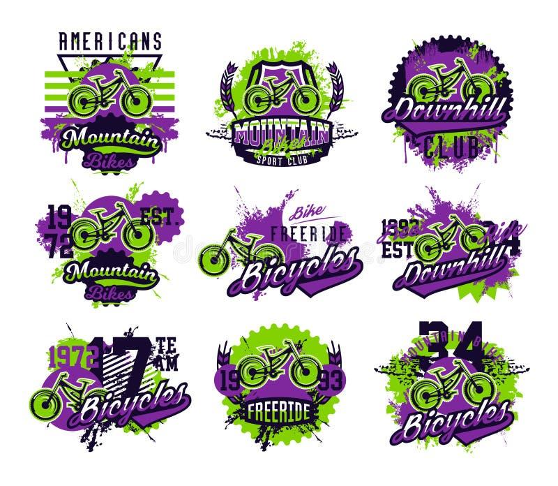 Collection d'illustration de vecteur sur le thème de faire du vélo de montagne, sports extrêmes, en descendant, freeride Effet gr illustration libre de droits