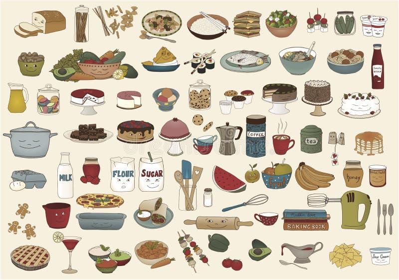 Collection d'illustrations tirées par la main mignonnes de nourriture illustration libre de droits