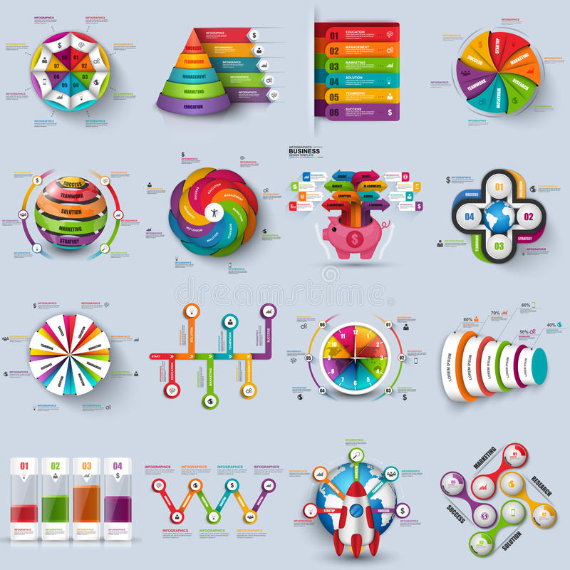 Collection of 3d infographic vector design template vector illustration
