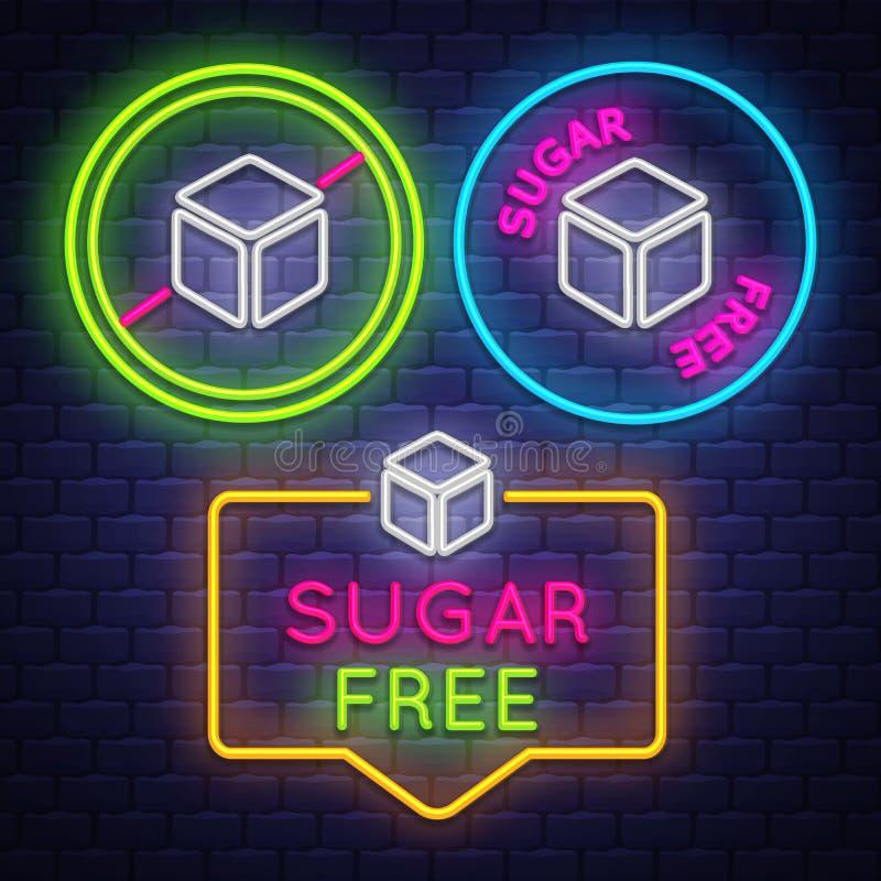 Collection d'insigne de Sugar Free Signe de Diabet Signe au néon illustration stock