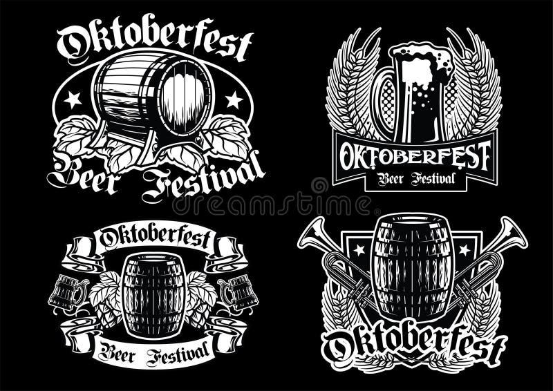Collection d'insigne d'Oktoberfest en noir et blanc illustration stock