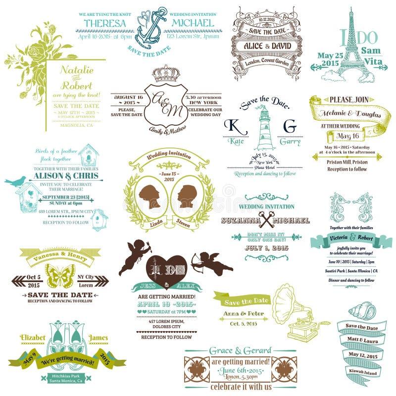 Collection d'invitation de cru de mariage illustration libre de droits