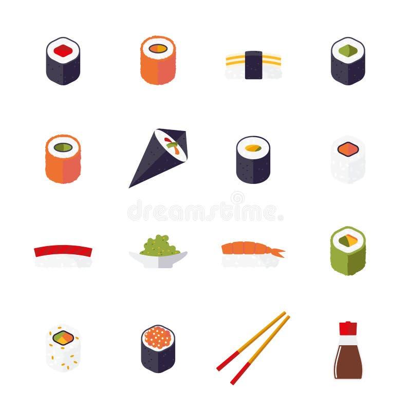 Collection d'isolement par conception plate d'icônes de vecteur de sushi illustration stock