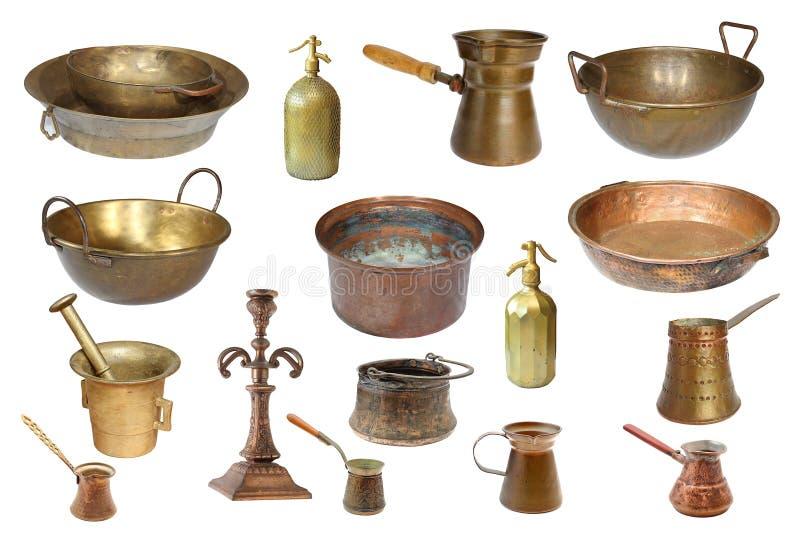 Collection d'objets d'isolement d'en cuivre de vintage images stock