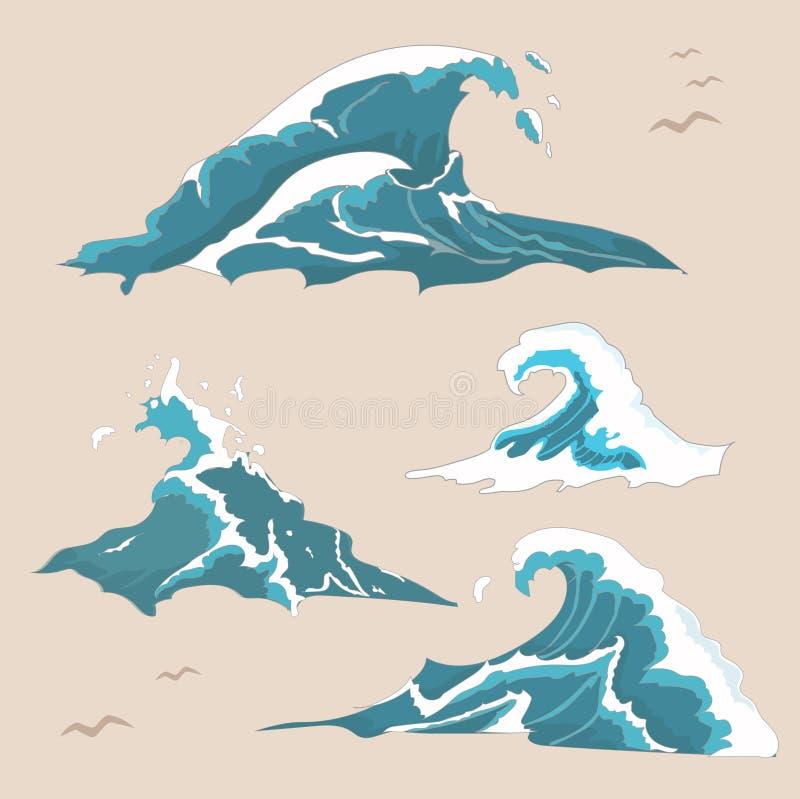 Collection d'océan de vague illustration libre de droits
