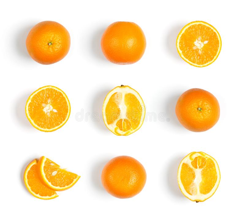Collection d'oranges sur le fond blanc photos libres de droits