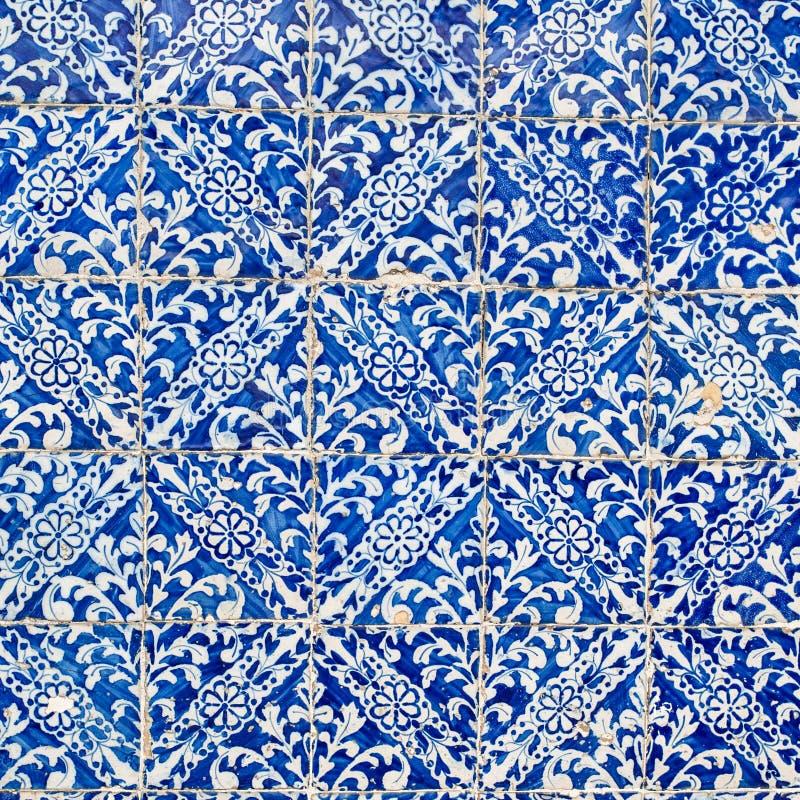 Collection d'ornement de plancher de tuiles de bleu d'indigo Marocain coloré, image libre de droits