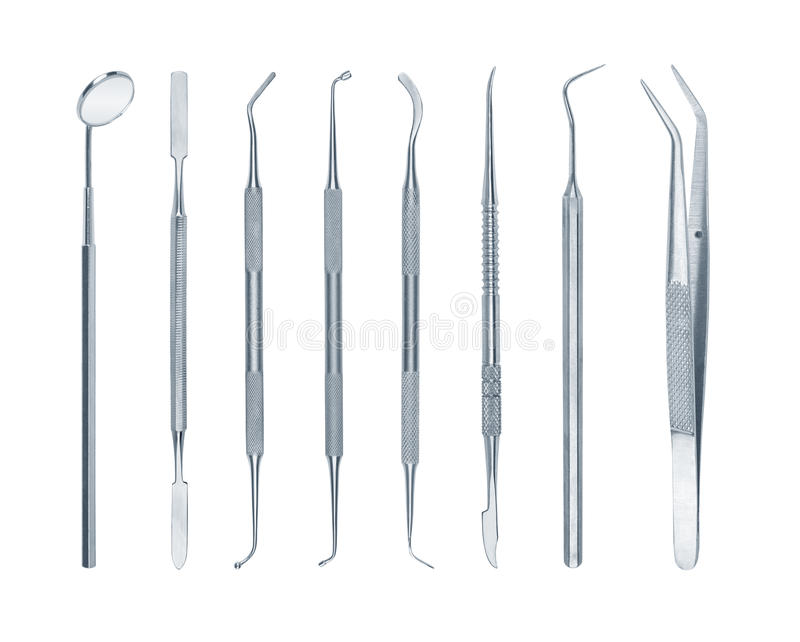 Collection d'outils dentaires photo stock