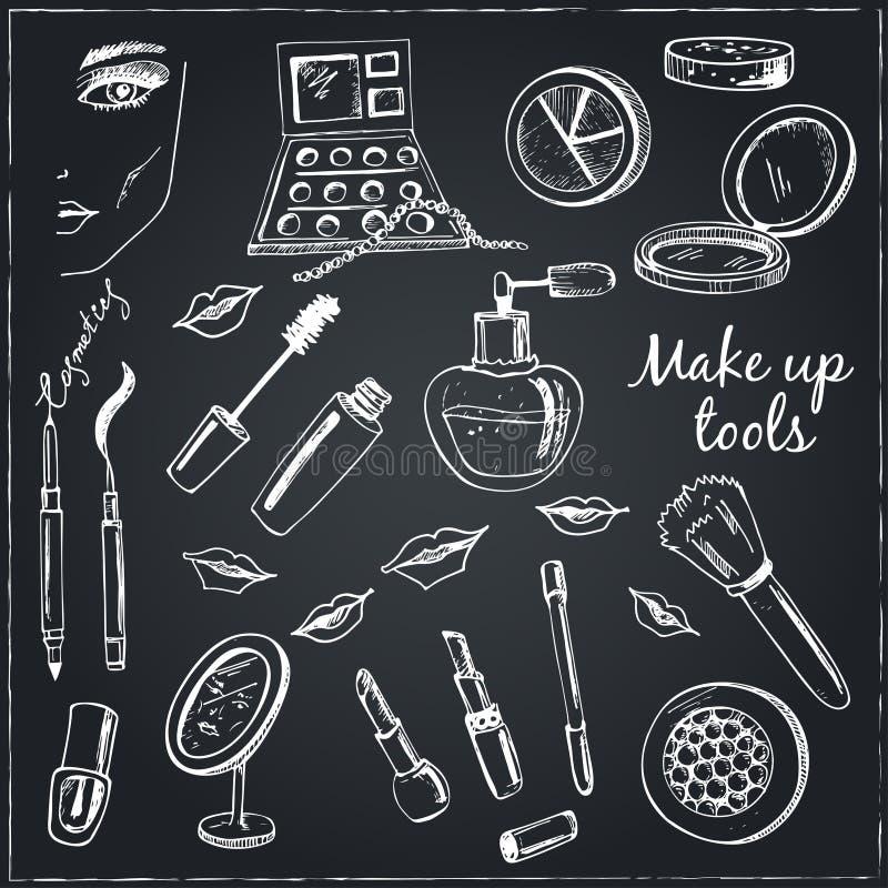 Collection d'outils tirés par la main de vecteur pour le maquillage illustration de vecteur