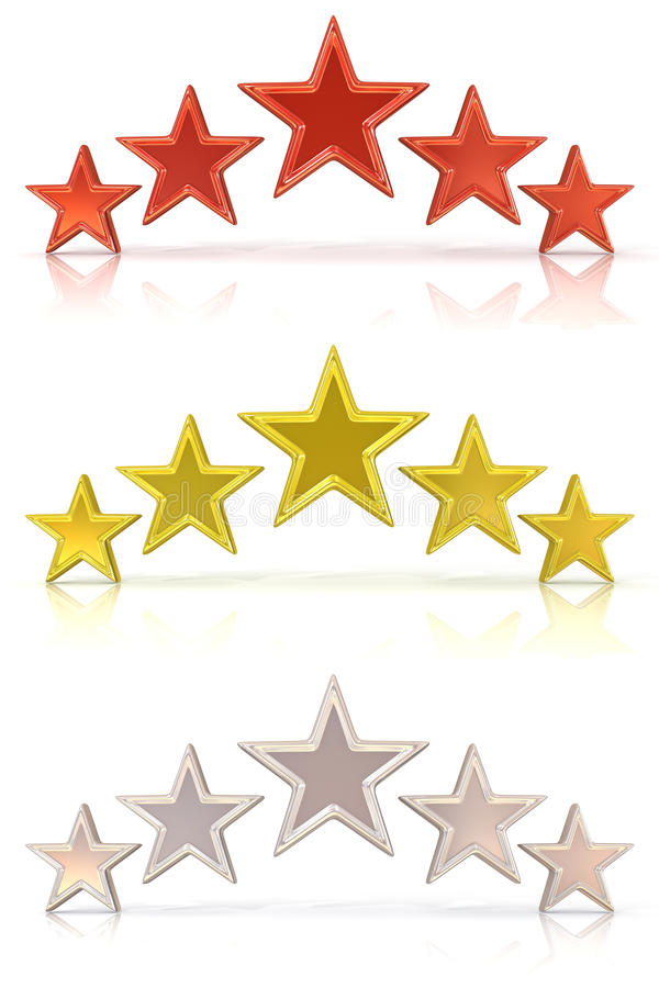 Collection of 3D rendering of five red, gold and white stars stock illustration
