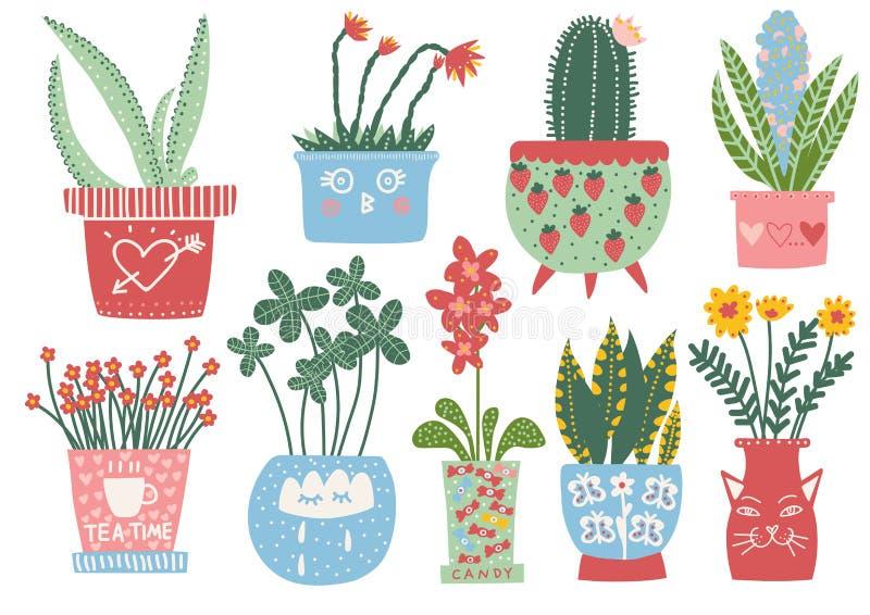 Collection d'usines de floraison dans des pots colorés, illustration mise en pot d'intérieur de vecteur de plantes d'intérieur illustration stock