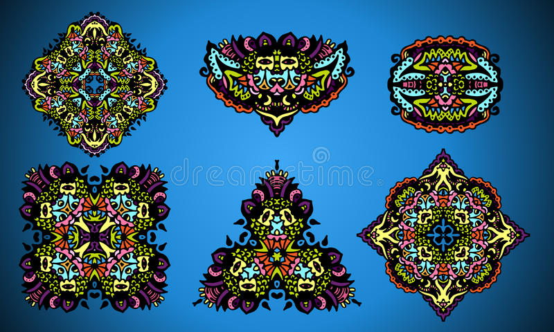 Collection Of Damask Ornamental Elements Stock Photos