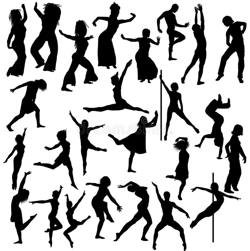 Collection of dance silhouettes. Collection of 25 dance silhouettes