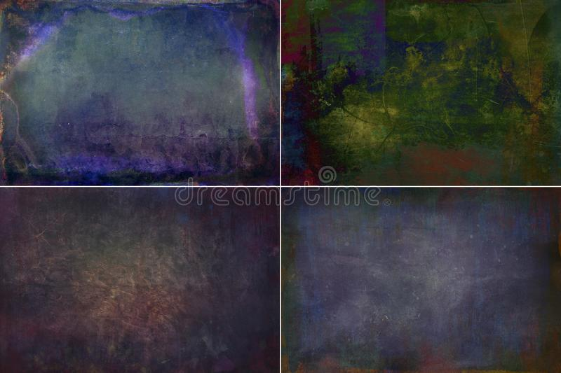 Collection dark colored grunge textures backgrounds. Collection of dark colored textures in grunge style. Template for decoration and design stock photo