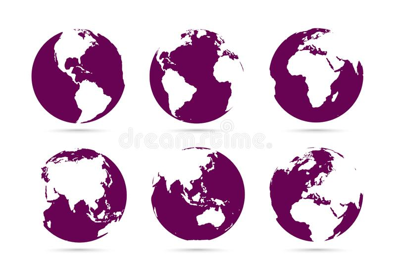 Collection of dark flat icons globes. Set maps of the world. Planet with continents vector illustration