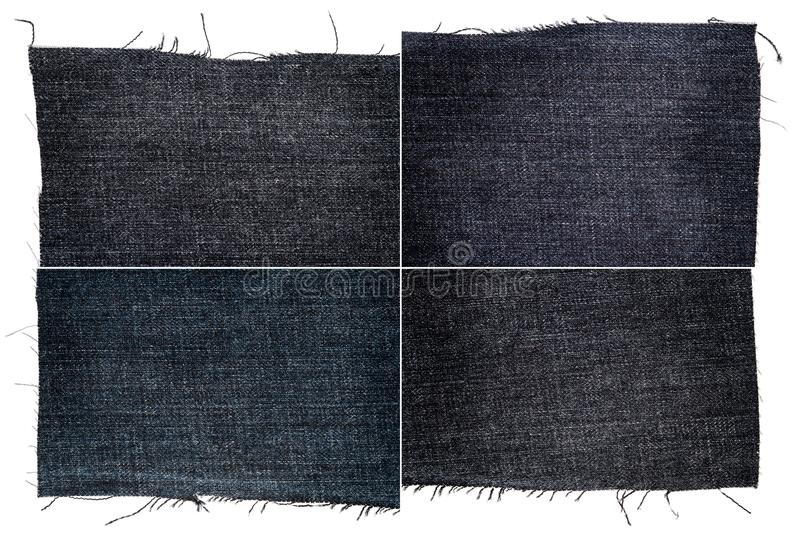 Collection of dark jeans fabric textures. Isolated on white background. Rough uneven edges. Rectangular composite image of jeans textures stock photo