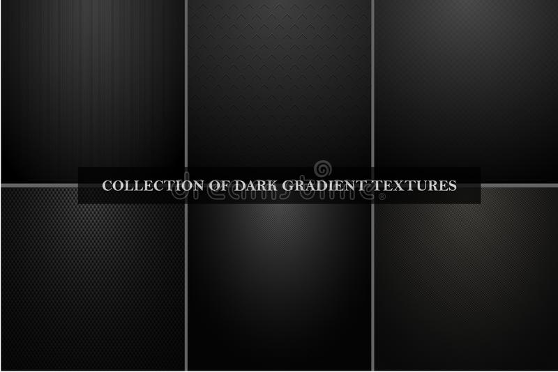 Collection of dark vector carbon textures. Black metallic abstract industrial backgrounds royalty free illustration