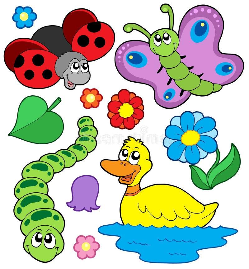collection de 4 animaux petite illustration de vecteur