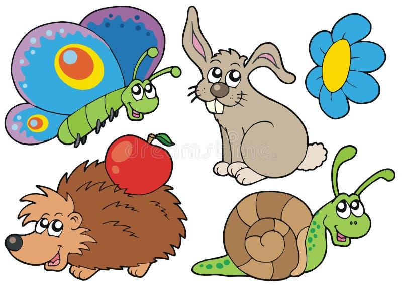 collection de 7 animaux petite illustration stock