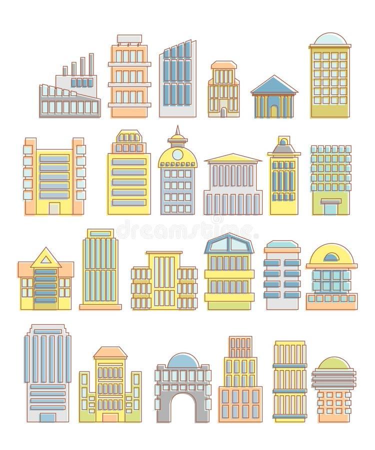 Collection de bâtiments, de maisons et d'objets architecturaux Urbain illustration stock