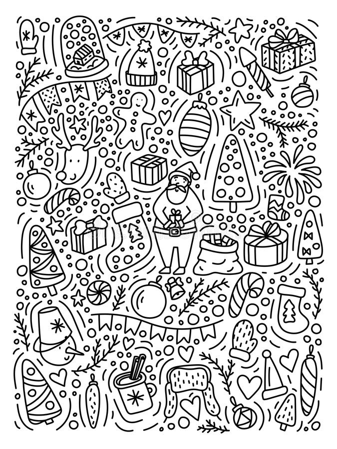 Collection de bande dessinée d'éléments de décoration de griffonnage de nouvelle année Bonnes fêtes affiche, carte postale etc. illustration libre de droits