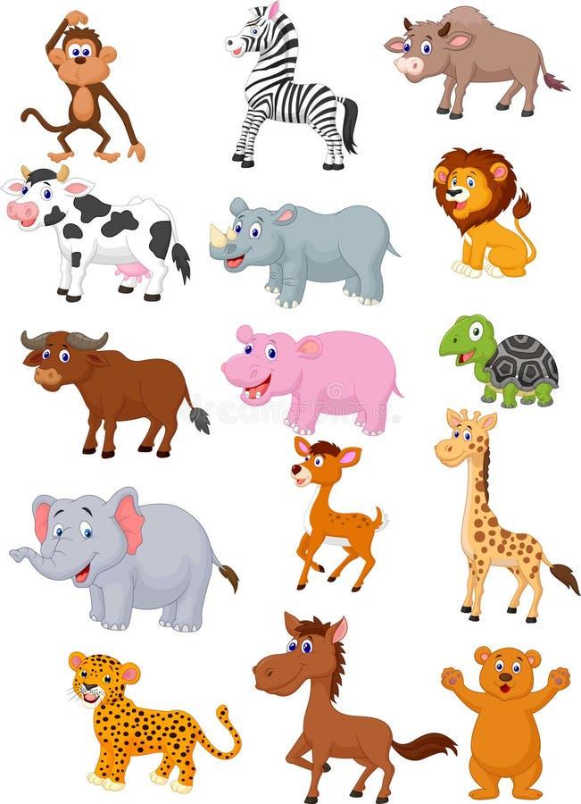 Collection de bande dessinée d'animal sauvage illustration de vecteur