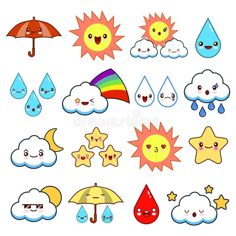 Collection de bande dessinée peu commune et d'icônes souriantes drôles de temps Type mignon Ensoleillé, nuageux, pluvieux, venteu illustration stock