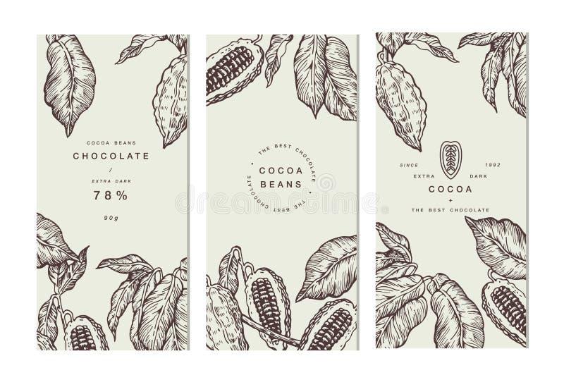 Collection de bannière d'arbre de graine de cacao Calibres de conception Illustration gravée de style Graines de cacao de chocola illustration de vecteur