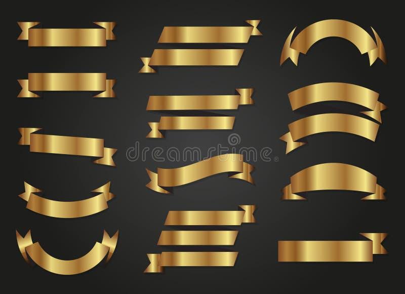 Collection de bannières de luxe d'or illustration de vecteur