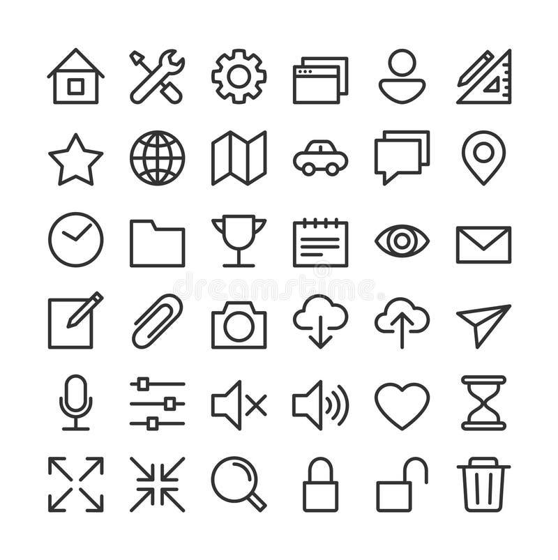Collection de base d'icône - propre et simple illustration stock