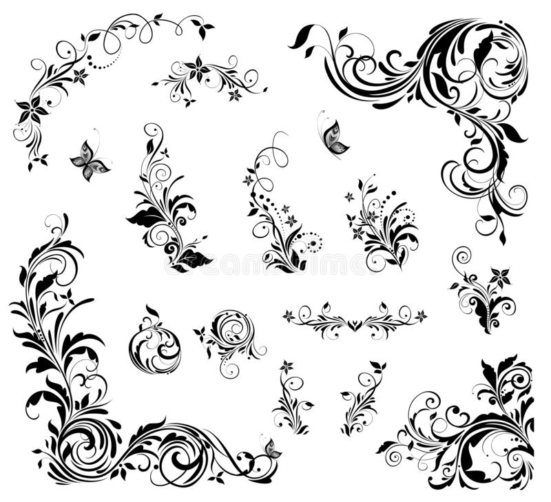 Collection de beau décor floral de cru pour la conception de mariage, titres de livre, carte de voeux, invitations illustration de vecteur