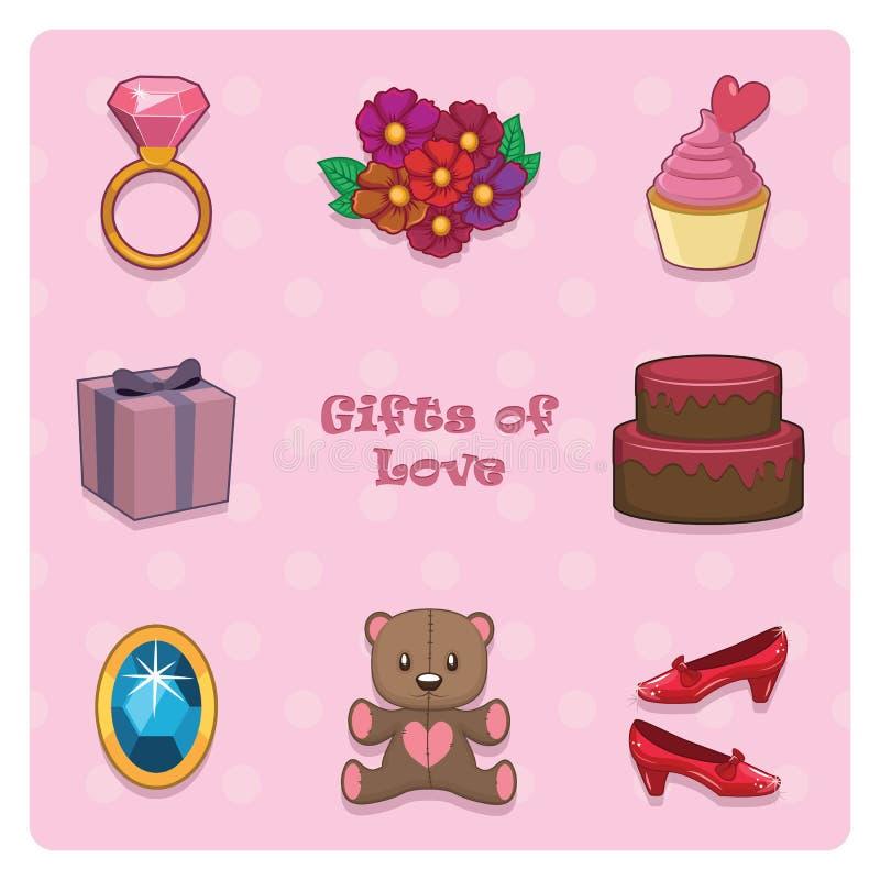 Collection de beaux cadeaux illustration stock
