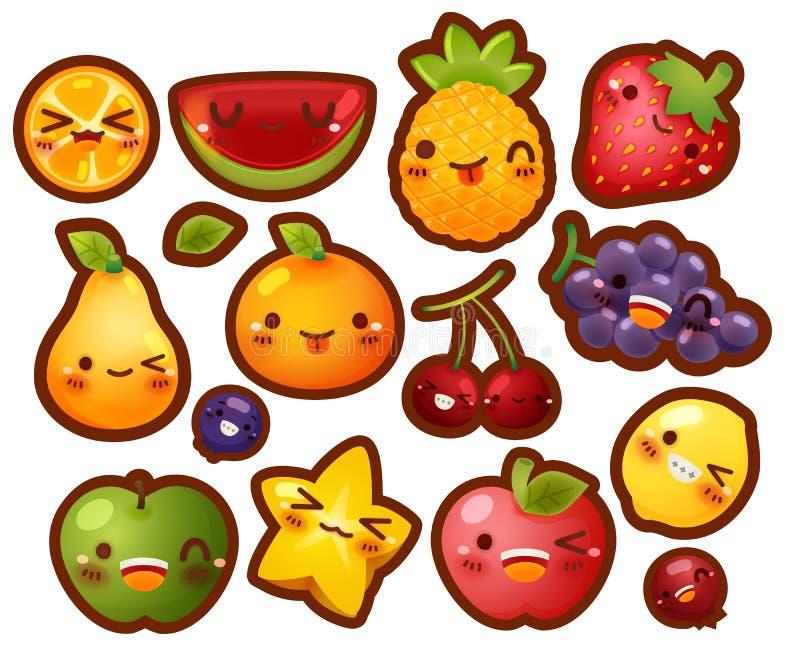 Collection de belle icône de griffonnage de fruit de bébé images stock