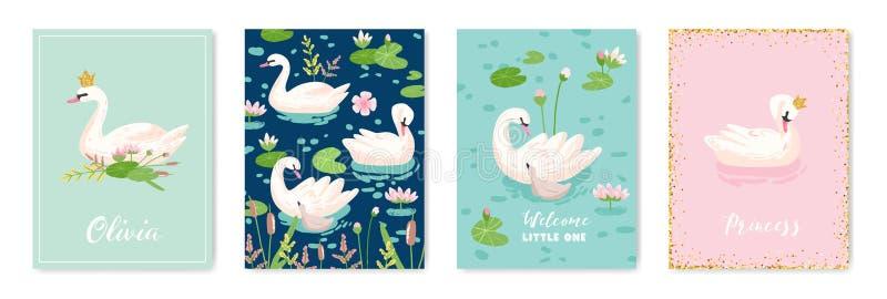Collection de belles affiches de cygnes pour la copie de conception, salutations de bébé, cartes d'arrivée, invitation, insecte d illustration stock