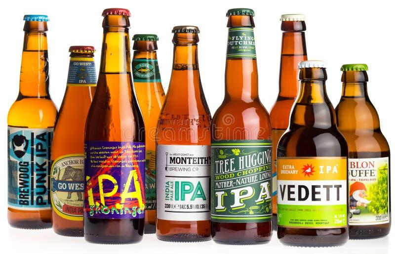 Collection de bières de Pale Ale d'Indien sur le blanc photos libres de droits